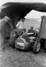 Ferrari 166 V12  David (Ecurie Ecosse) Murray's car at Winfield with Scrutineers in 1951